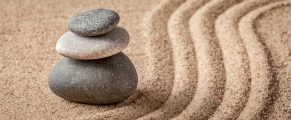 Japanese Zen stone garden - relaxation, meditation, simplicity and balance concept - letterbox pano