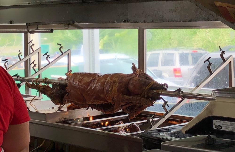 Spit roasted pig or lechón