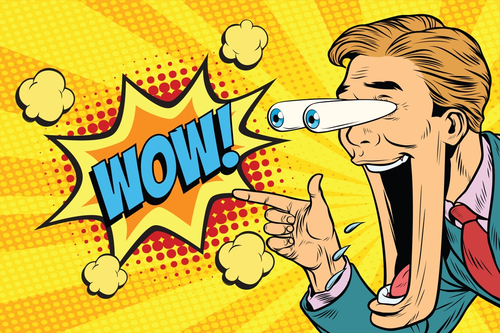 Hyper expressive reaction cartoon wow man face, big eyes and wide open mouth. The man points at something. Pop art retro comic book vector illustration